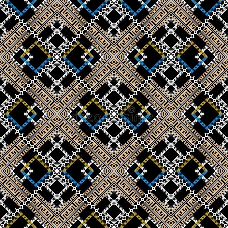 Kleurrijk geometrisch Grieks vector naadloos patroon Moderne abstrac stock illustratie