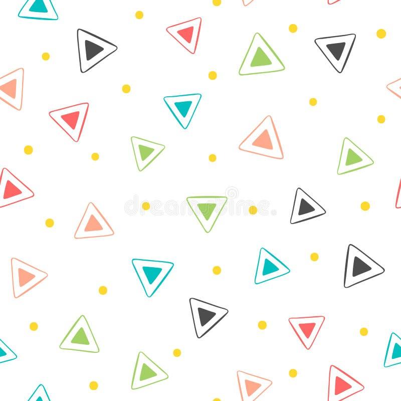 Kleurrijk geometrisch naadloos patroon Herhaalde driehoeken en ronde punten Getrokken door hand stock illustratie