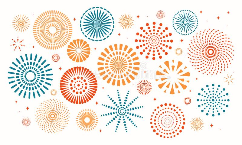 Kleurrijk geplaatst Vuurwerk stock illustratie