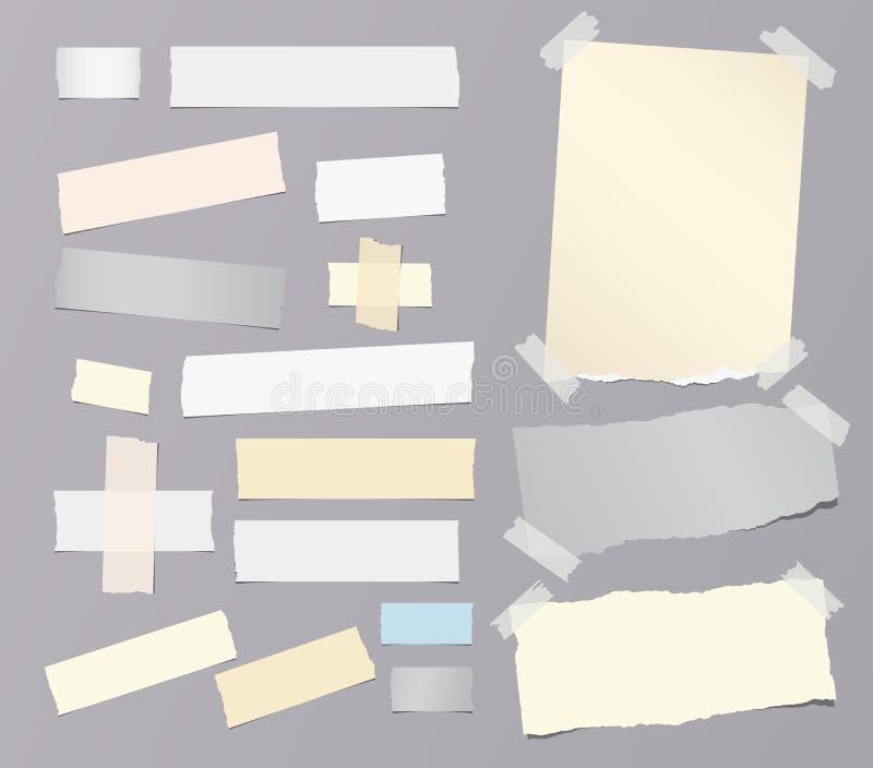 Kleurrijk gescheurd notitieboekje, notadocument, kleverige kleefstof, band voor tekst of bericht op grijze achtergrond Vector ill stock illustratie