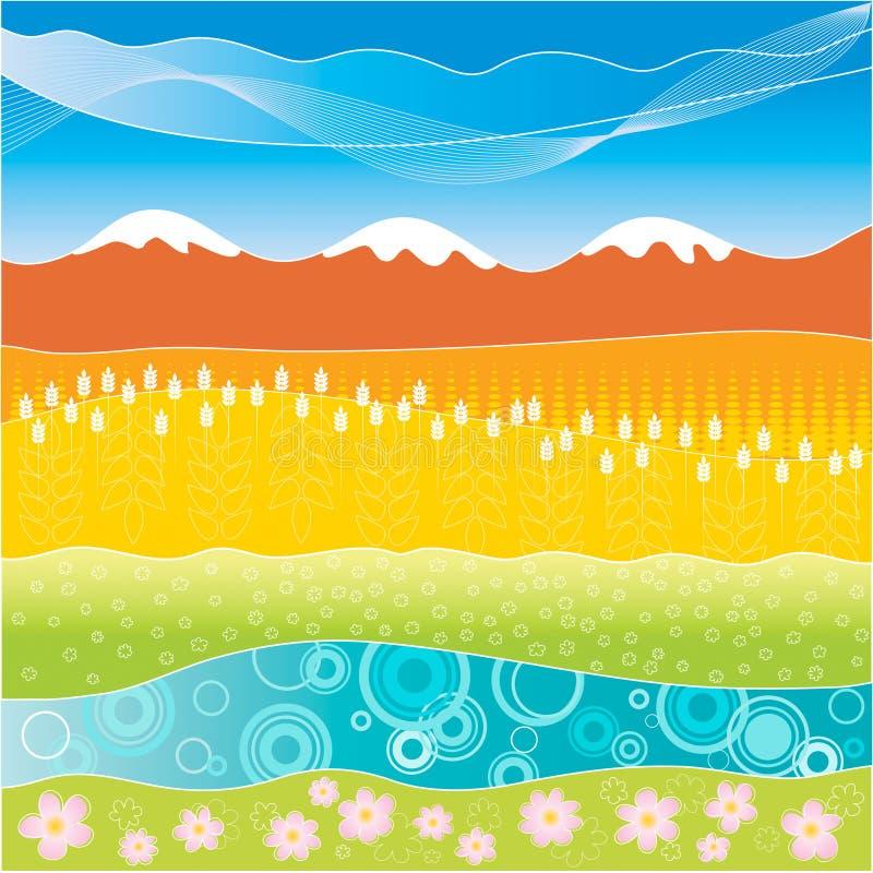 Kleurrijk gestreept landschap royalty-vrije illustratie