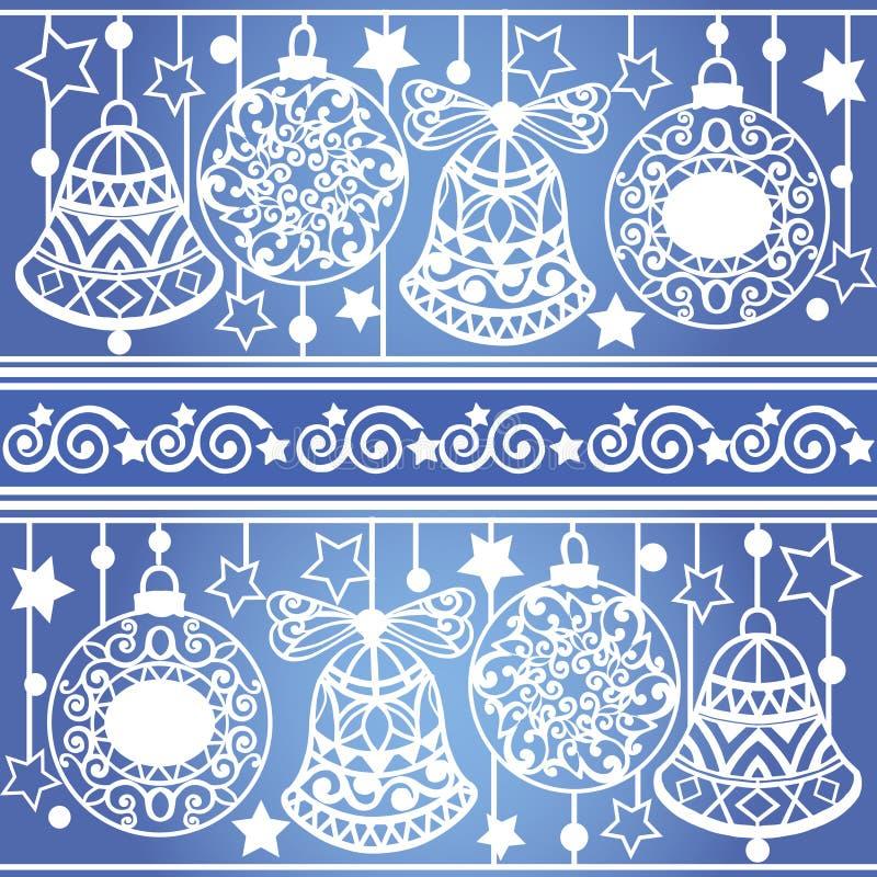 Kleurrijk gestreept patroon met Kerstmisballen en klokken Kerstmistextuur voor behang, Web-pagina achtergrond royalty-vrije illustratie