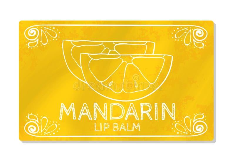 Kleurrijk geweven etiket, sticker voor cosmetischee producten Het verpakkingsontwerp van de lippenstift met de smaak van zoete ci stock illustratie