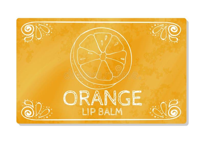 Kleurrijk geweven etiket, sticker voor cosmetischee producten Verpakkende ontwerplippenstift de smaak van zoete sinaasappel Vecto vector illustratie