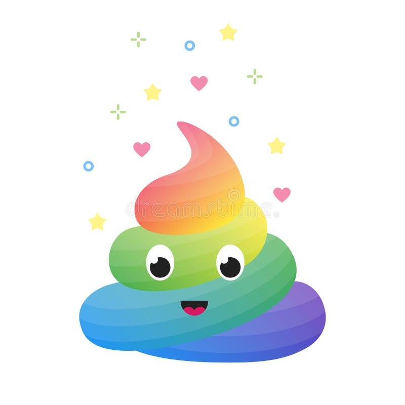 Kleurrijk grappig regenboogachterschip, leuk uitwerpsel van eenhoorn geïsoleerde vector stock illustratie