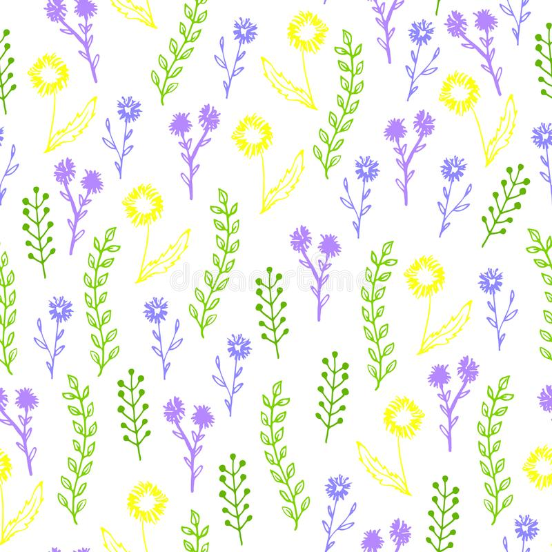 Kleurrijk hand getrokken bloemen naadloos patroon, vector vector illustratie