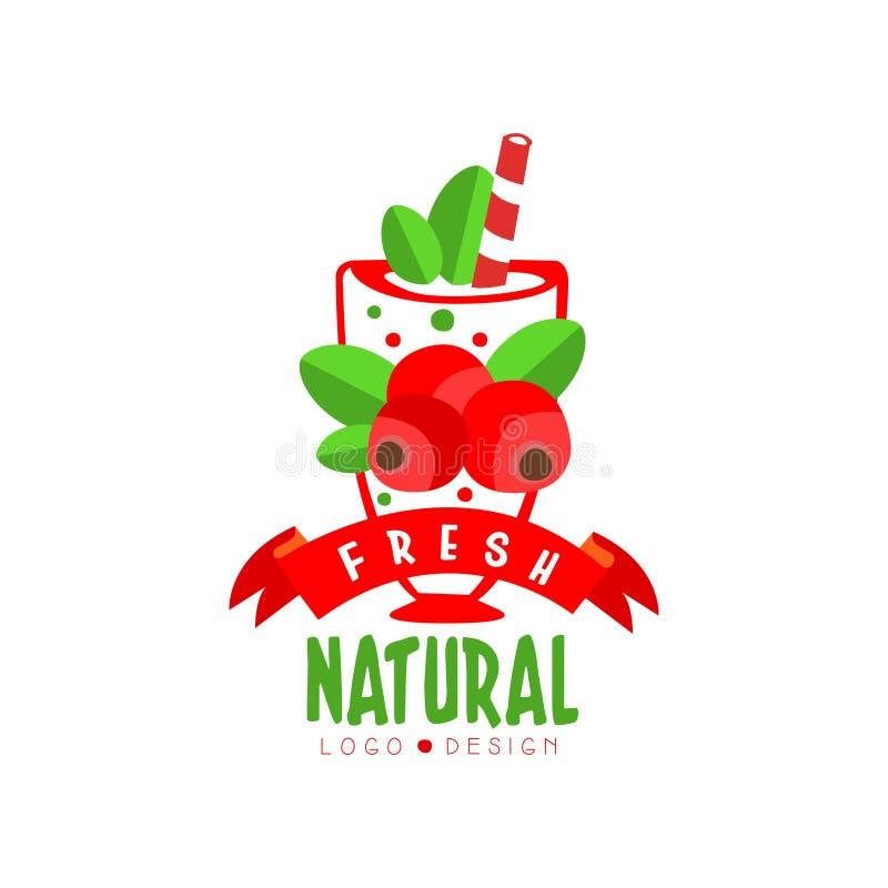 Kleurrijk hand getrokken embleem met zoete Amerikaanse veenbessen in glas Natuurlijke fruitdrank Vegetarische cocktail Vector voo royalty-vrije illustratie