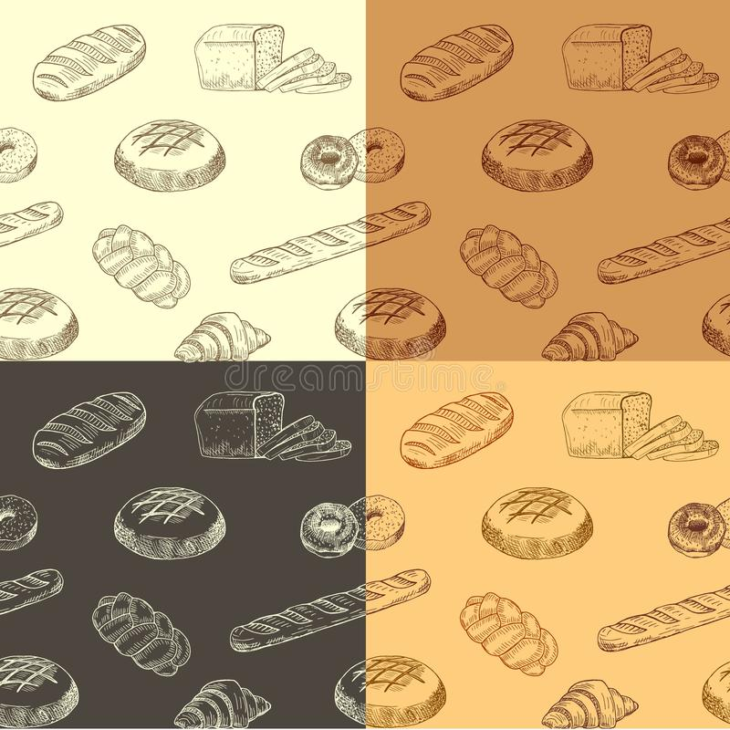 Kleurrijk hand getrokken patroon met realistisch baksel vector illustratie