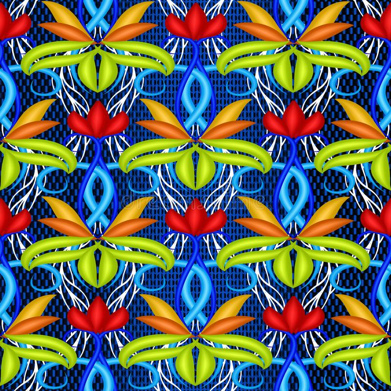 Kleurrijk helder bloemen vector 3d naadloos patroon Blauwe geweven achtergrond Sier decoratief herhaalt achtergrond Hand stock illustratie