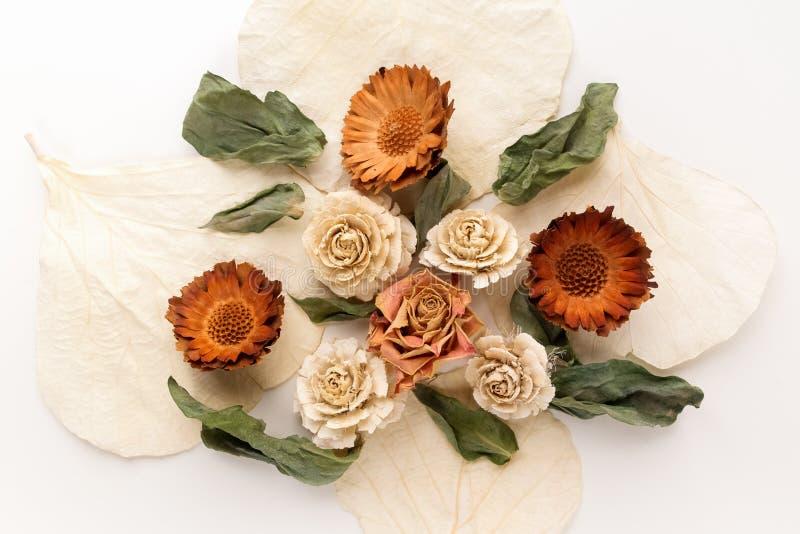 Kleurrijk helder die patroon van droge bloemen wordt gemaakt Vlak leg, hoogste mening stock afbeeldingen