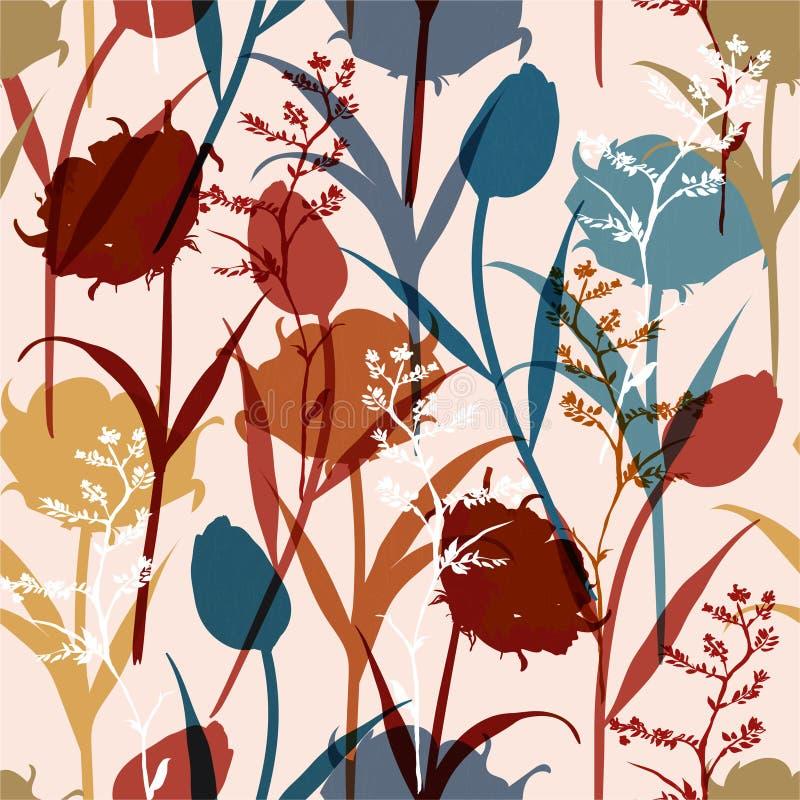 Kleurrijk helder modieus Silhouet Abstract naadloos patroon met bladeren en bloemenachtergrond met botanische vector op modern royalty-vrije illustratie