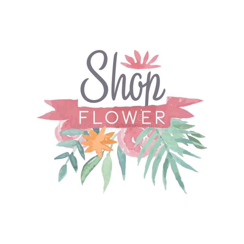 Kleurrijk het embleemmalplaatje van de bloemwinkel met lint, etiket of kenteken in uitstekende stijl voor bloemenboutique, de huw royalty-vrije illustratie
