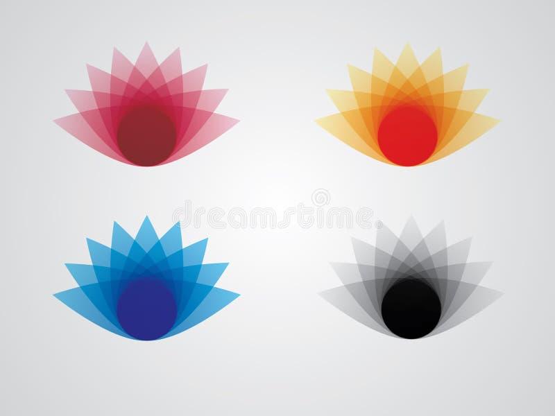 Kleurrijk het embleemontwerp van de lotusbloembloem op witte achtergrond voor bedrijfs en groetkaart royalty-vrije illustratie