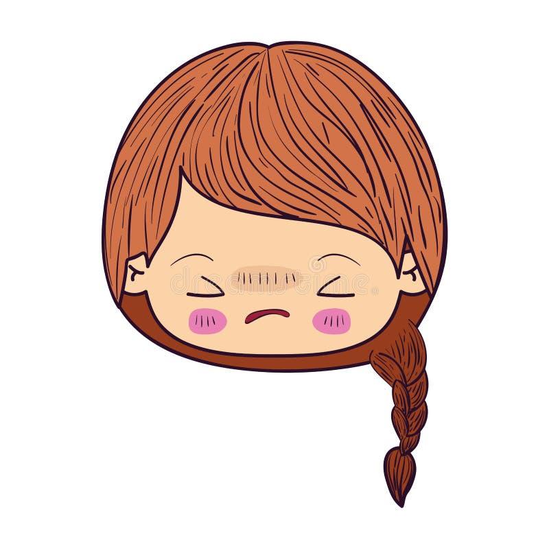Kleurrijk het gezichtsmeisje van karikatuurkawaii met gevlecht haar en gelaatsuitdrukking boos met gesloten ogen stock illustratie