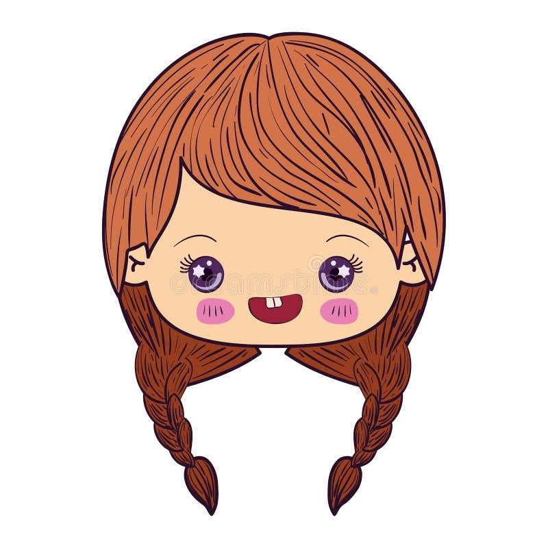Kleurrijk het gezichtsmeisje van karikatuurkawaii met gevlecht haar en het glimlachen stock illustratie