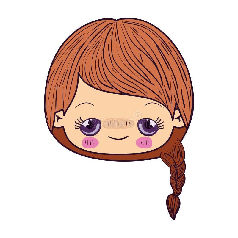 Kleurrijk het gezichtsmeisje van karikatuurkawaii met gevlecht haar en pijnlijke gelaatsuitdrukking vector illustratie