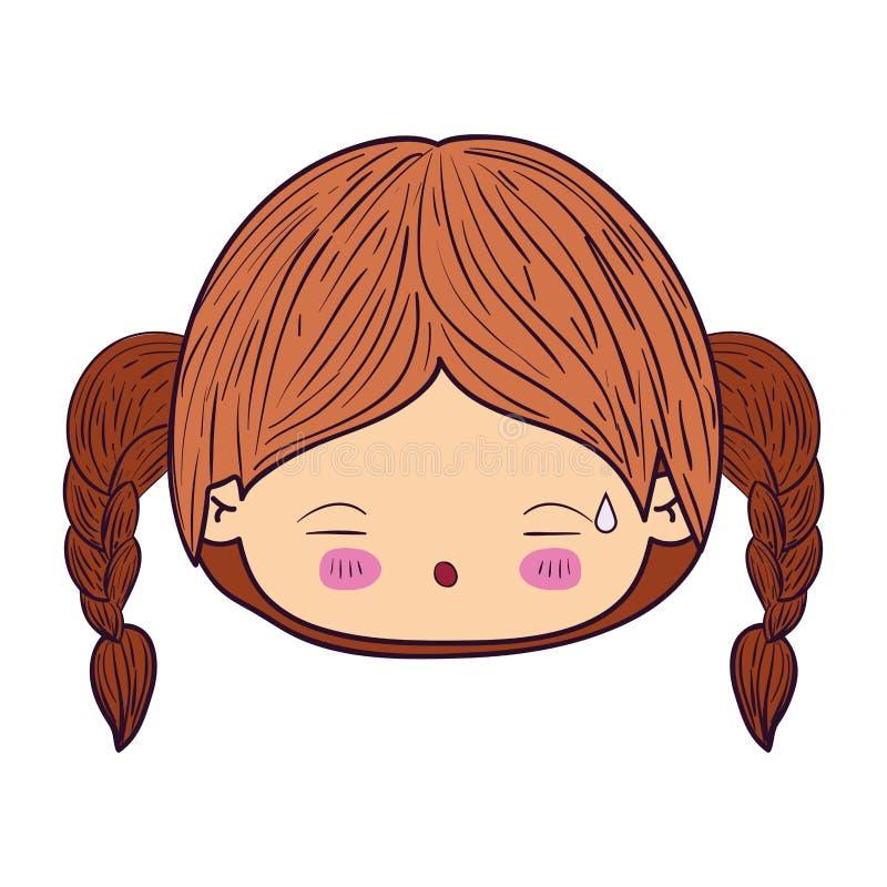 Kleurrijk het gezichtsmeisje van karikatuurkawaii met gevlecht haar en vermoeide gelaatsuitdrukking vector illustratie
