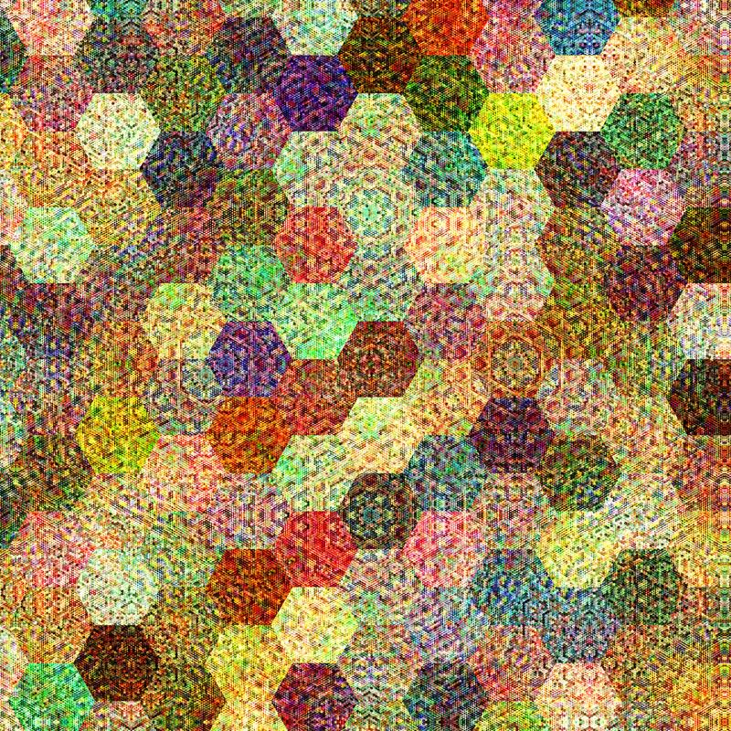 Kleurrijk hexagonaal mozaïek met gebreid effect royalty-vrije illustratie