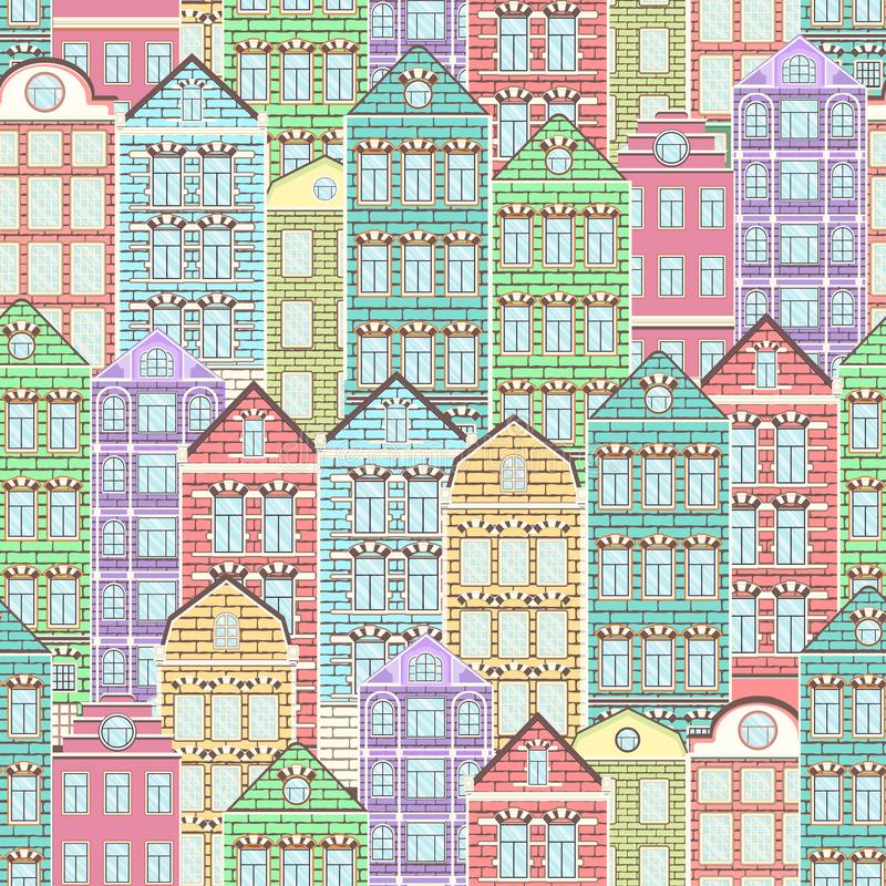 Kleurrijk huizen naadloos patroon, stadsachtergrond, stedelijk landschap Multicolored helder Europees baksteenhuis, vlakke tekeni stock illustratie