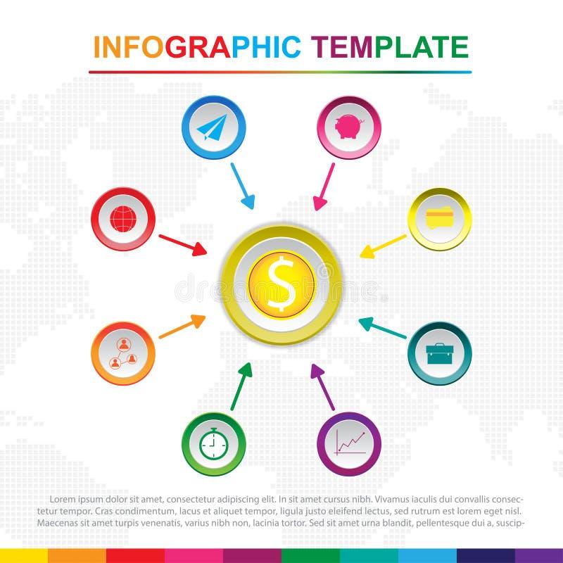 Kleurrijk infographic malplaatje met 9 titels, Diagram met stappen stock afbeeldingen