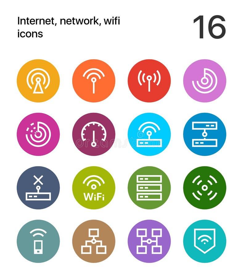 Kleurrijk Internet, netwerk, wifipictogrammen voor Web en apps vector illustratie
