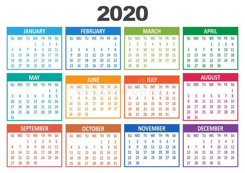Kleurrijk jaarlijks tijdschema 2020 Week begint op zondag Vector stock illustratie