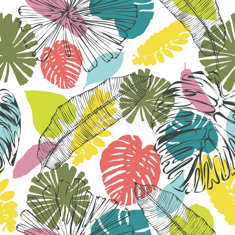 Kleurrijk-kaki bladerenpatroon op wit stock illustratie