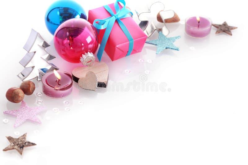 Kleurrijk Kerstmisstilleven met copyspace royalty-vrije stock fotografie