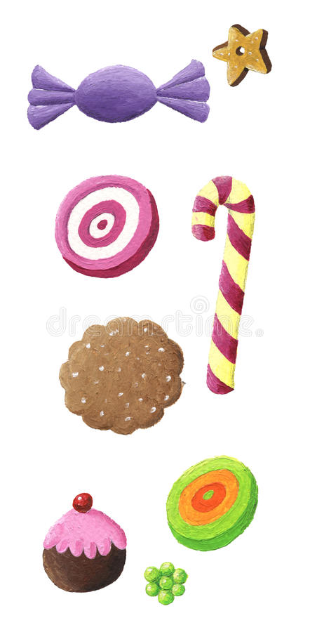 Kleurrijk Koekje en suikergoed stock illustratie