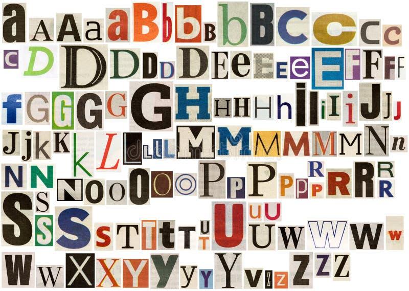 Kleurrijk krantenalfabet vector illustratie