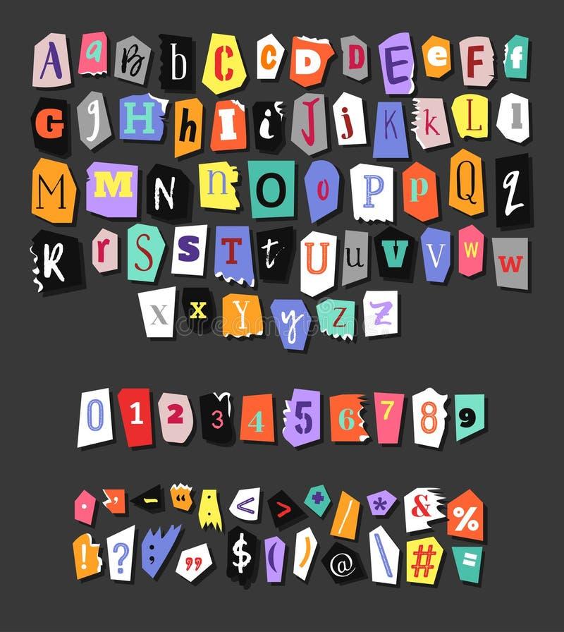 Kleurrijk krantenalfabet Hand - gemaakte anonieme reeks Vectorletters, getallen en leestekens stock illustratie