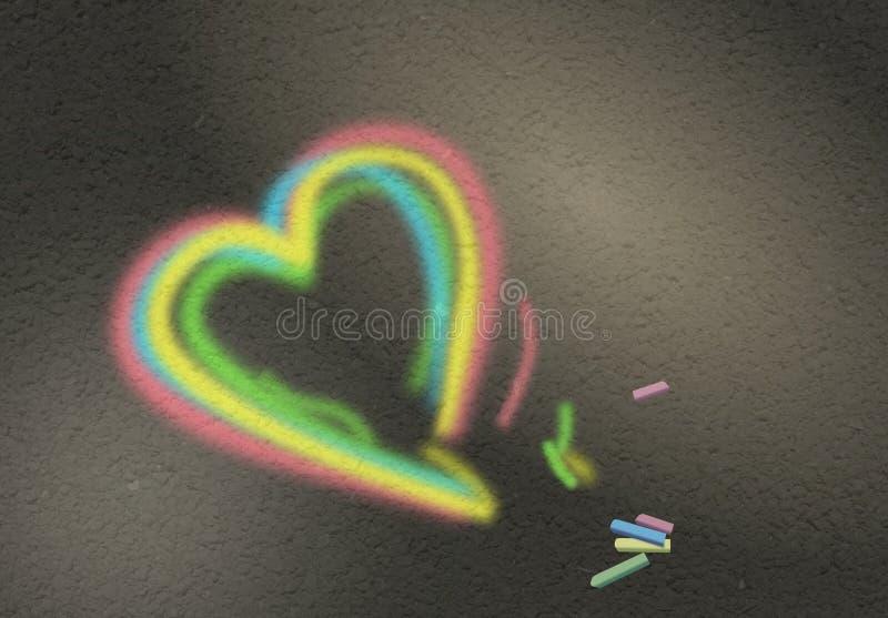 Kleurrijk krijtachtig hartsymbool op weg stock illustratie