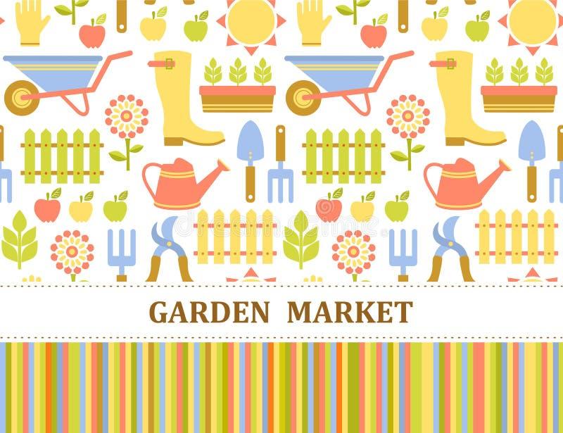 Kleurrijk landbouw, landbouwbedrijf en tuinmarktpatroon royalty-vrije illustratie