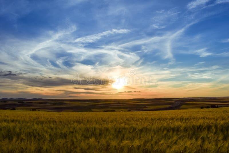 Kleurrijk landschap van zonsondergang in landbouwgrond Vrijheidssensatie stock afbeelding