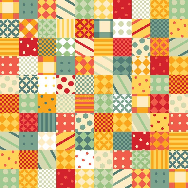 Kleurrijk lapwerkpatroon Naadloos ontwerp van heldere vierkanten met geometrische patronen royalty-vrije illustratie