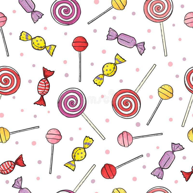 Kleurrijk lolly en suikergoed naadloos patroon vector illustratie