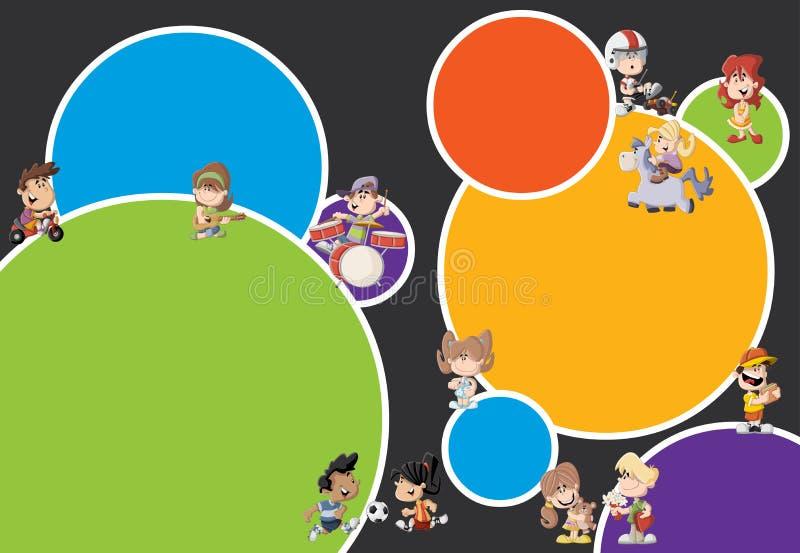 Kleurrijk malplaatje met kinderen vector illustratie