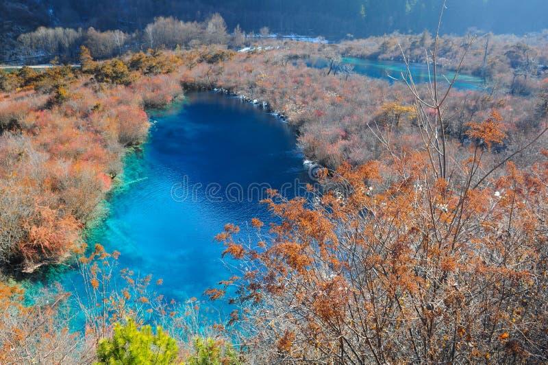Kleurrijk meer in Jiuzhaigou, China stock foto