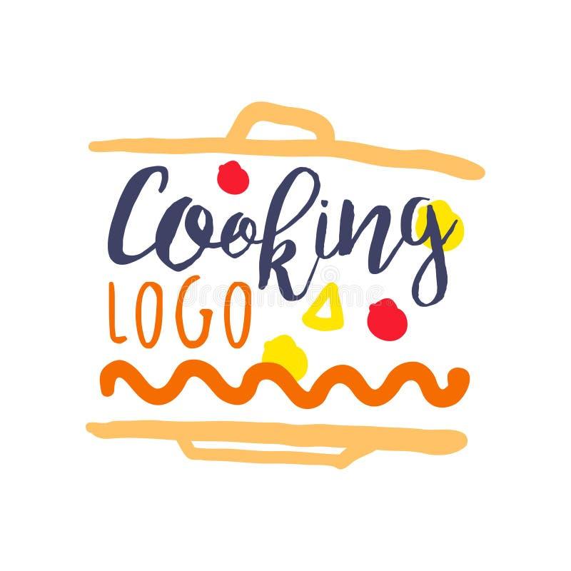 Kleurrijk met de hand gemaakt embleemmalplaatje voor het koken van voedselclub vector illustratie