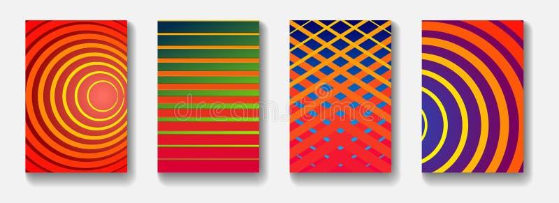 Kleurrijk minimaal vectordekkingsontwerp met lijnen royalty-vrije stock afbeeldingen