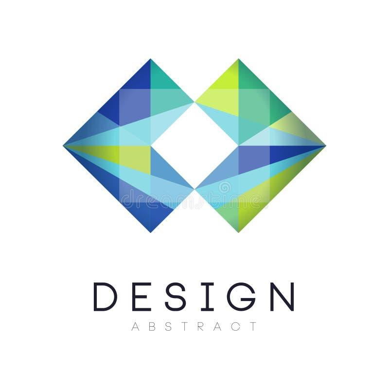 Kleurrijk modern embleemmalplaatje Geometrisch etiket in gradiënt blauwe en groene kleuren Abstract vectorontwerp voor zaken stock illustratie