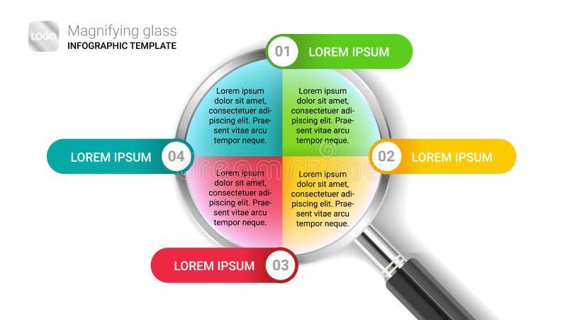 Kleurrijk modern vector infographic malplaatje met vier opties of stappen in meer magnifier die op witte achtergrond worden geïso stock illustratie