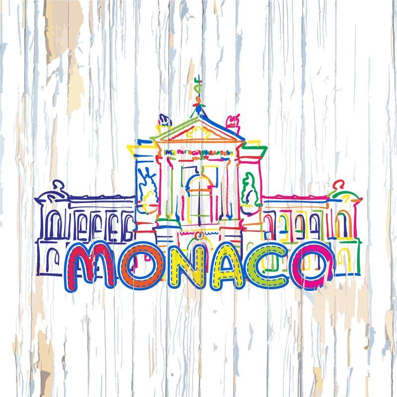 Kleurrijk Monaco die op houten achtergrond trekken stock illustratie