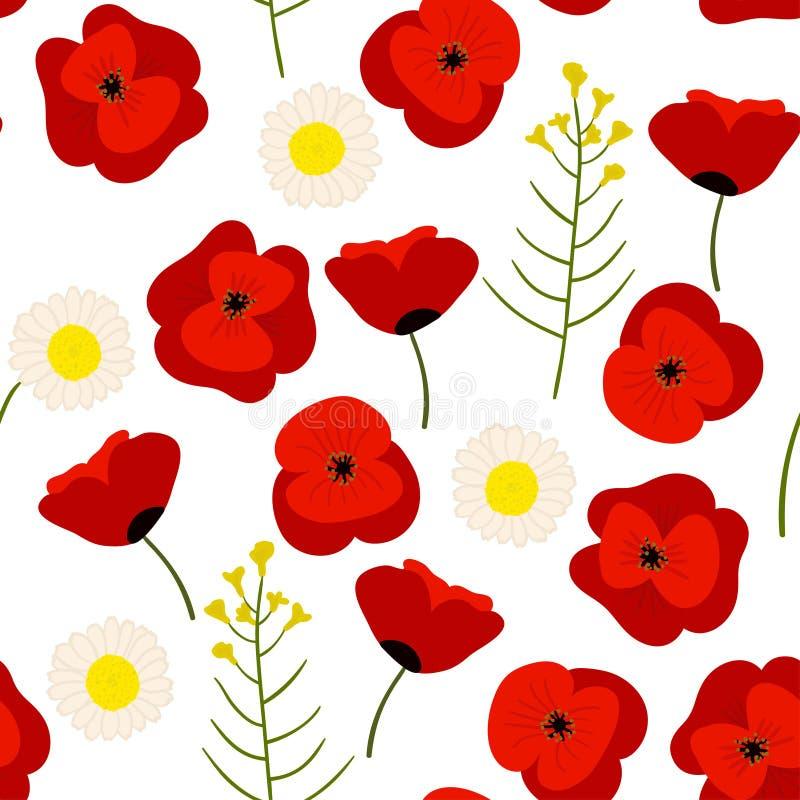 Kleurrijk naadloos bloemenpatroon, de zomergebied royalty-vrije illustratie