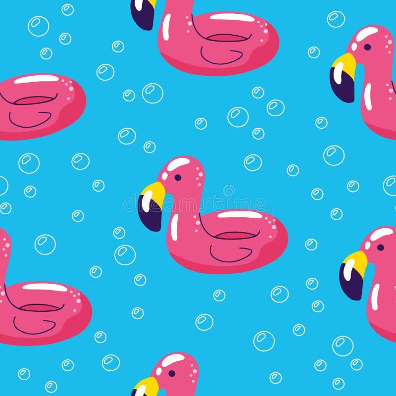 Kleurrijk naadloos de zomerpatroon met hand getrokken strandelementen De zomerpool die met flamingo drijven Naadloos patroon vector illustratie