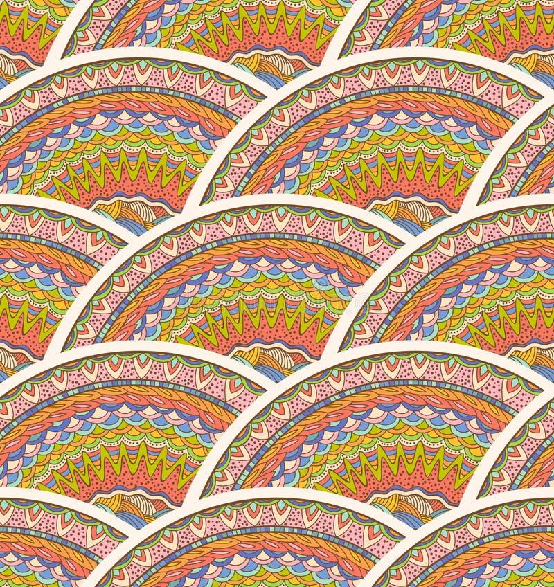 Kleurrijk Naadloos Hand-Drawn Patroon Vectorgolvenachtergrond royalty-vrije illustratie