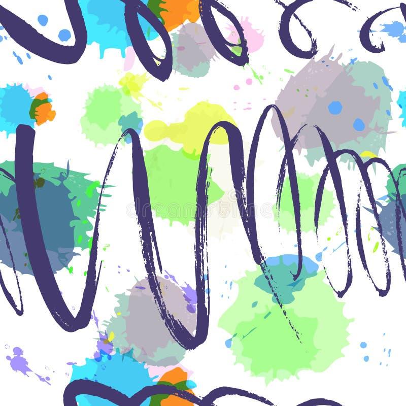Kleurrijk naadloos hand getrokken textuurontwerp voor achtergronden Ve stock illustratie