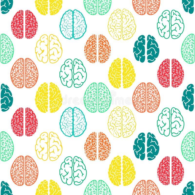 Kleurrijk naadloos hersenenpatroon Wetenschappelijke achtergrond royalty-vrije illustratie