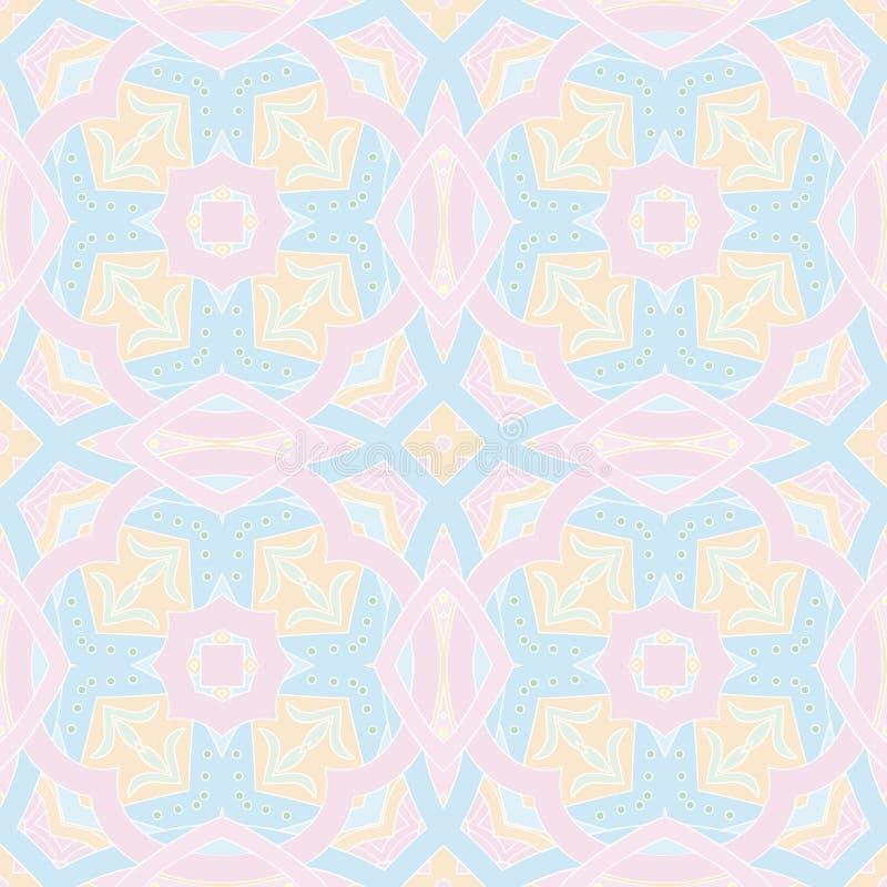 Kleurrijk naadloos patroon in de stijl van mozaïekmandala arabesque Abstracte hand getrokken kunst, gestileerde bloemenkrabbelach stock foto's