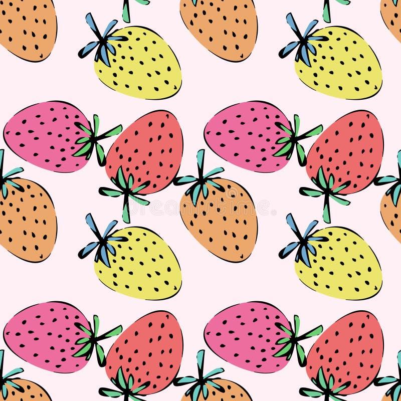 Kleurrijk naadloos patroon met aardbeien vector illustratie